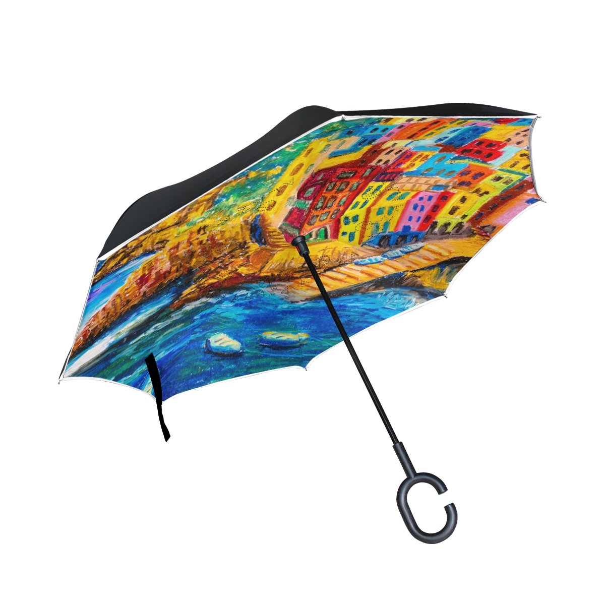 My Daily Double Layer Inverted Umbrella Cars Reverse Umbrella Italy House Boat Sea Oil Painting Windproof UV Proof Travel Outdoor Umbrella