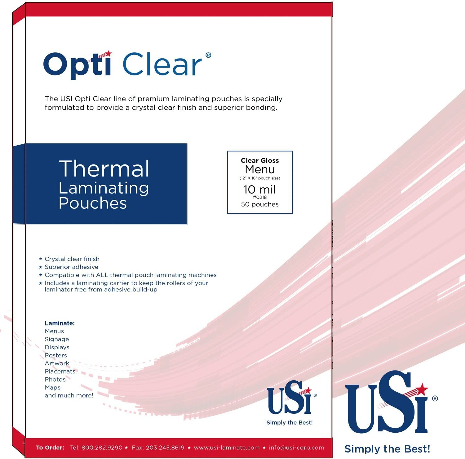 Amazon Com Usi Opti Clear Premium Thermal Laminating Pouches Menu Size 5 Mil 12 X 18 Inches 100 Pack Office Products