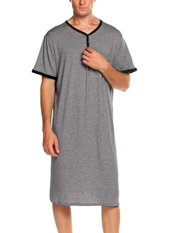 Adoeve Henley Sleepshirt Men's Nightshirts Short Sleeve Kaftan Nightwear with Pocket M-XXXL LDAV006983