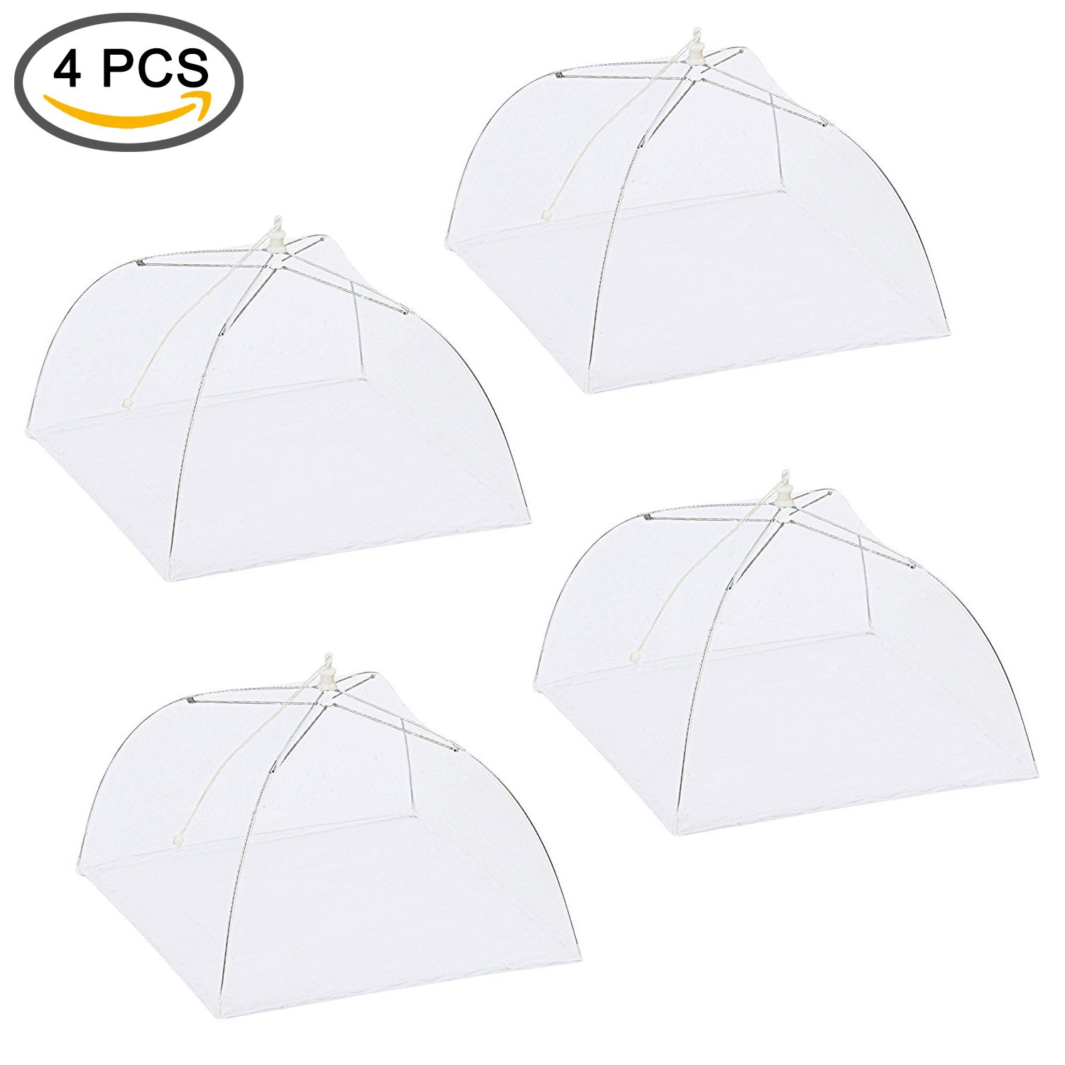 4 Pcs Mesh Screen Food Cover Tents Pop-Up ShineMe 17inches Collapsible Home/Outdoor Food Cover/Protector Keep Out Flies, Bugs, Mosquitoes Picnics, BBQ