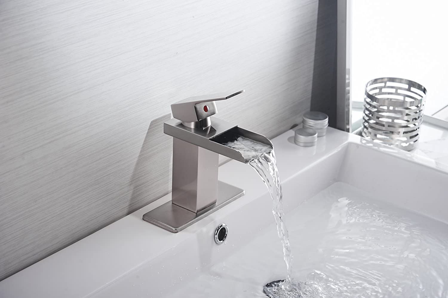 Eyekepper Nickel Brushed Waterfall Bathroom Sink Vessel