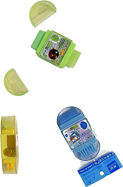 Pack de 3 plástico solo agujero Sacapuntas y goma de borrar y Cepillo: Amazon.es: Hogar