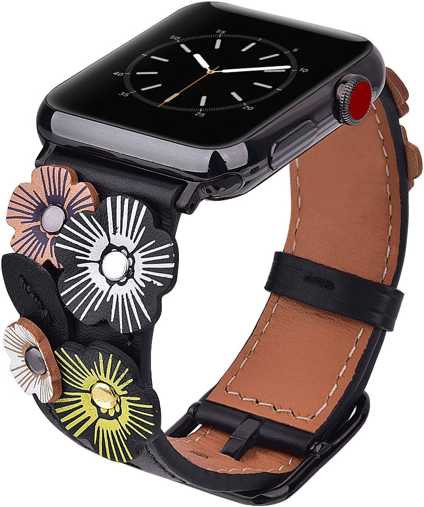 V-MORO Flowers Leather Bands Compatible with Apple Watch Bands 42mm 44mm Series 4/3/2/1 with Stainless Steel Buckle Black Replacement Strap Wristbands Women(Black, 42mm)