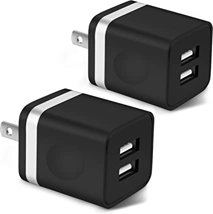 3-Pack 2.1 Dual Port USB Cube Power Adapter Wall Charger Plug Charging Block Compatible with iPhone 11 Pro//11//11 Pro Max//XS//XR//8//7//6 Plus Samsung Android iPad LG X-EDITION USB Wall Charger Moto