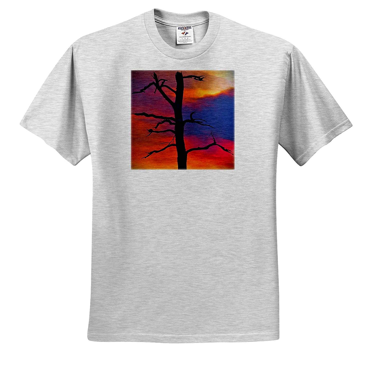 Photograph of a Dead Tree in The Pine Barrens Against a Smoky Sunset 3dRose Stamp City Nature - T-Shirts