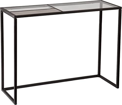 SEI Furniture Earmce Black Finish Sleek Console – Folding Side Frame for Easy Assembly – Antique Mirrored Glass