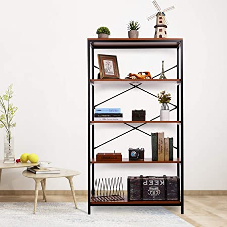Papafix 4 Tier Bookshelf Modern Wood Metal Open Idustrial Book Shelves Bookcase Storage Organizer Furniture