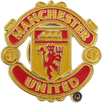 Manchester United Official FC Silver Look Crest pin Badge Very Rare
