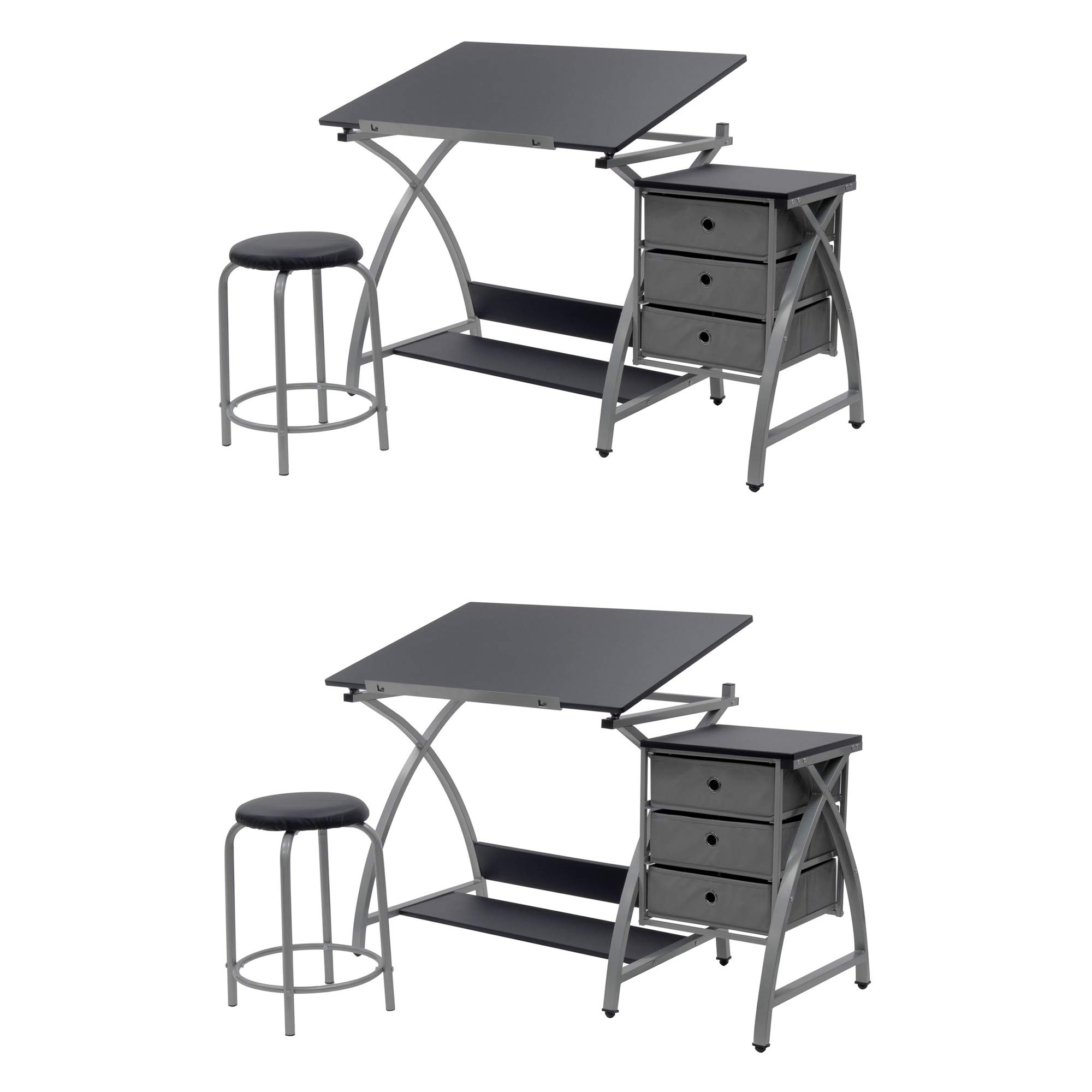 Studio Designs Laminate Craft Table Comet Center with Stool, Black (2 Pack)