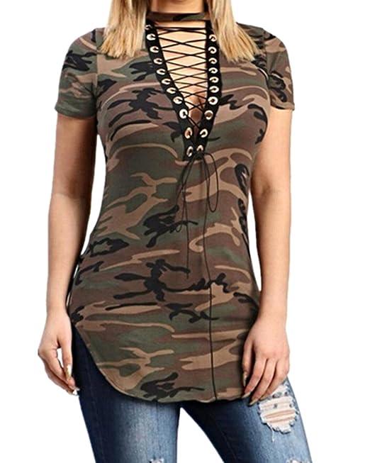 StyleDome Mujer Camiseta Camuflaje Mangas Cortas Blusa Cuello Pico con Tiras Casual Amarillo EU 36