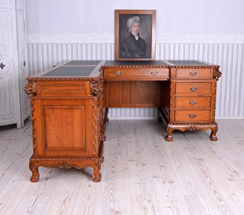 Mahagoni Desk Kolonial Löwenköpfe antik Schreibtisch Computertisch Bürotisch neu