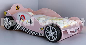 Pink Girls Childrens Racing Car Bed With Orthopaedic Mattress