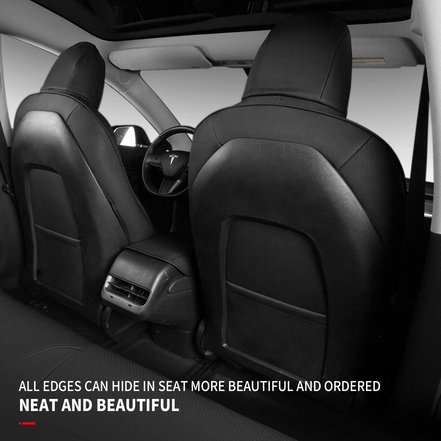 Black, 11 Pcs Xipoo for Tesla Model 3 Car Seat Cover PU Leather Cover All Season Protection for Tesla Model 3 2017 2018 2019 2020