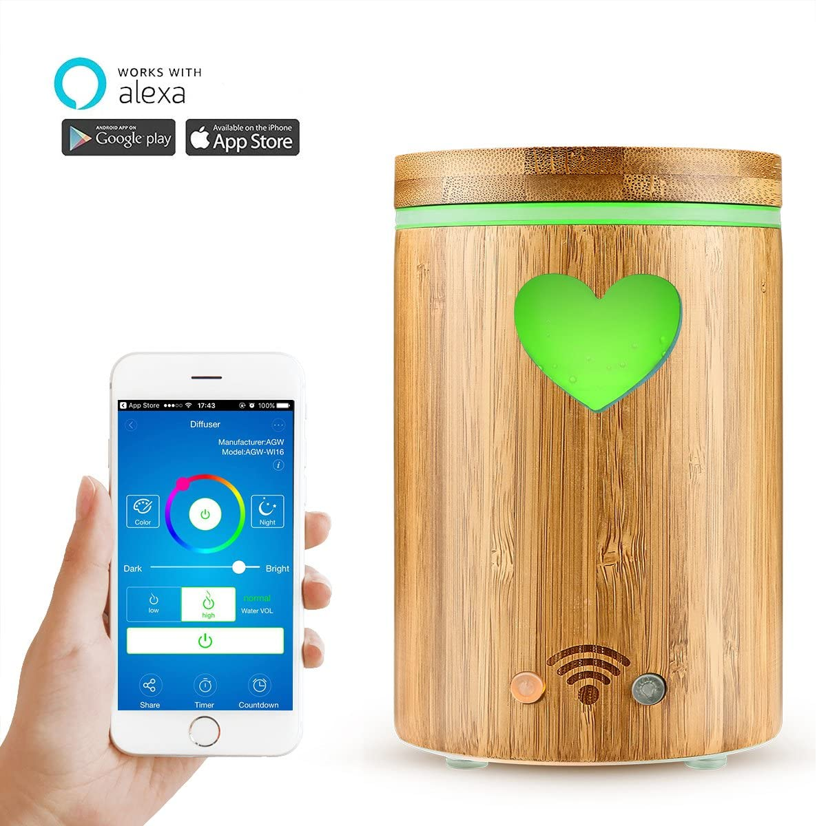 SODIAL Umidificatore dAria WiFi Intelligente Diffusore di Olio Essenziale Funziona con Alexa e Home Profondo Legno Spina UE