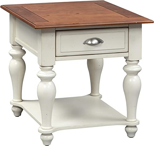 Liberty Furniture Industries Ocean Isle Rectangular End Table, 24 x 28 x 24 , White