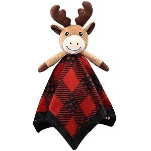 Moose Baby Animal Security Blanket Unisex Baby Snuggly Buffalo Plaid Animal Face Soft Bedding Plush Kids Sleeping Toys Nursery Décor Baby Shower Ideas