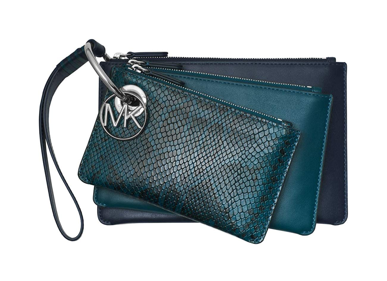 e0eed6c47938 Amazon.com  Michael Kors Tri-Color Leather Pouch Trio Clutch Wristlet  (Admiral Luex Teal)  Clothing