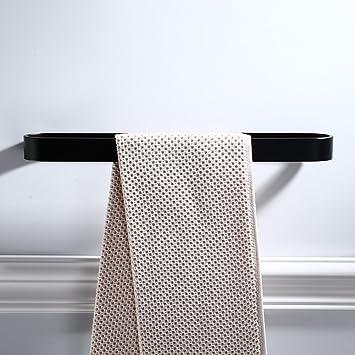 Estante de Toallas sin puño Aluminio Toalla baño Espacio de Rack Barra Adhesiva Negro unipolar,