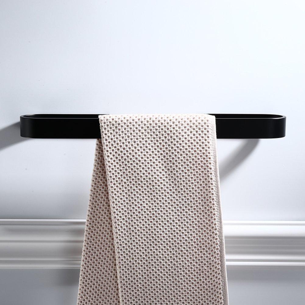 Towel Bar Punch-free towel rack Aluminum towel rack bathroom space Black single pole adhesive, Drill free towel hanger,Bath towel rack,Wall mount -A 50cm(20inch)