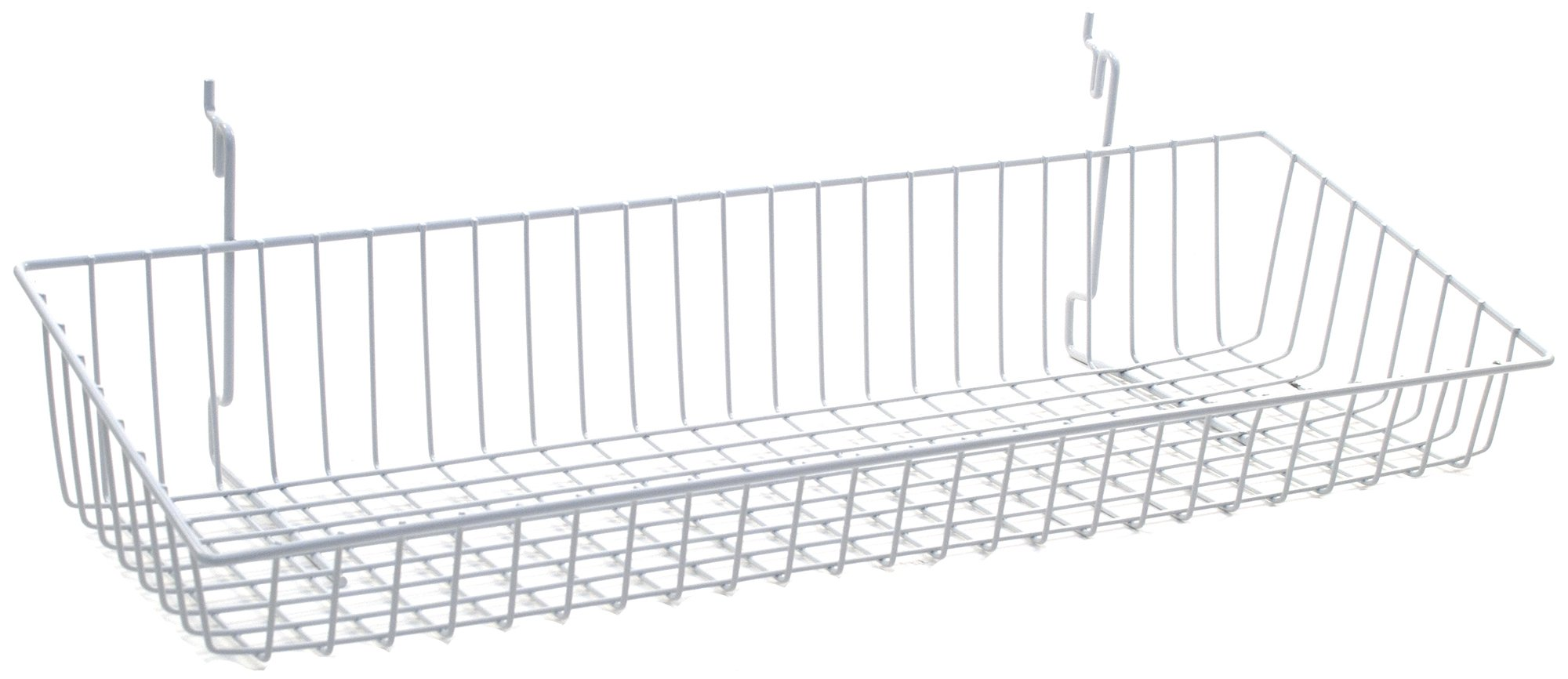 KC Store Fixtures A03033 Sloping Basket Fits Slatwall, Grid, Pegboard, 24'' W x 8'' D x 4'' H Back x 2'' H Front, White (Pack of 6)