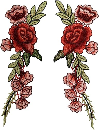 2pcs DIY Embroidered Sew Iron on Patch Badge Rose Flower Bag Hat Dress Applique