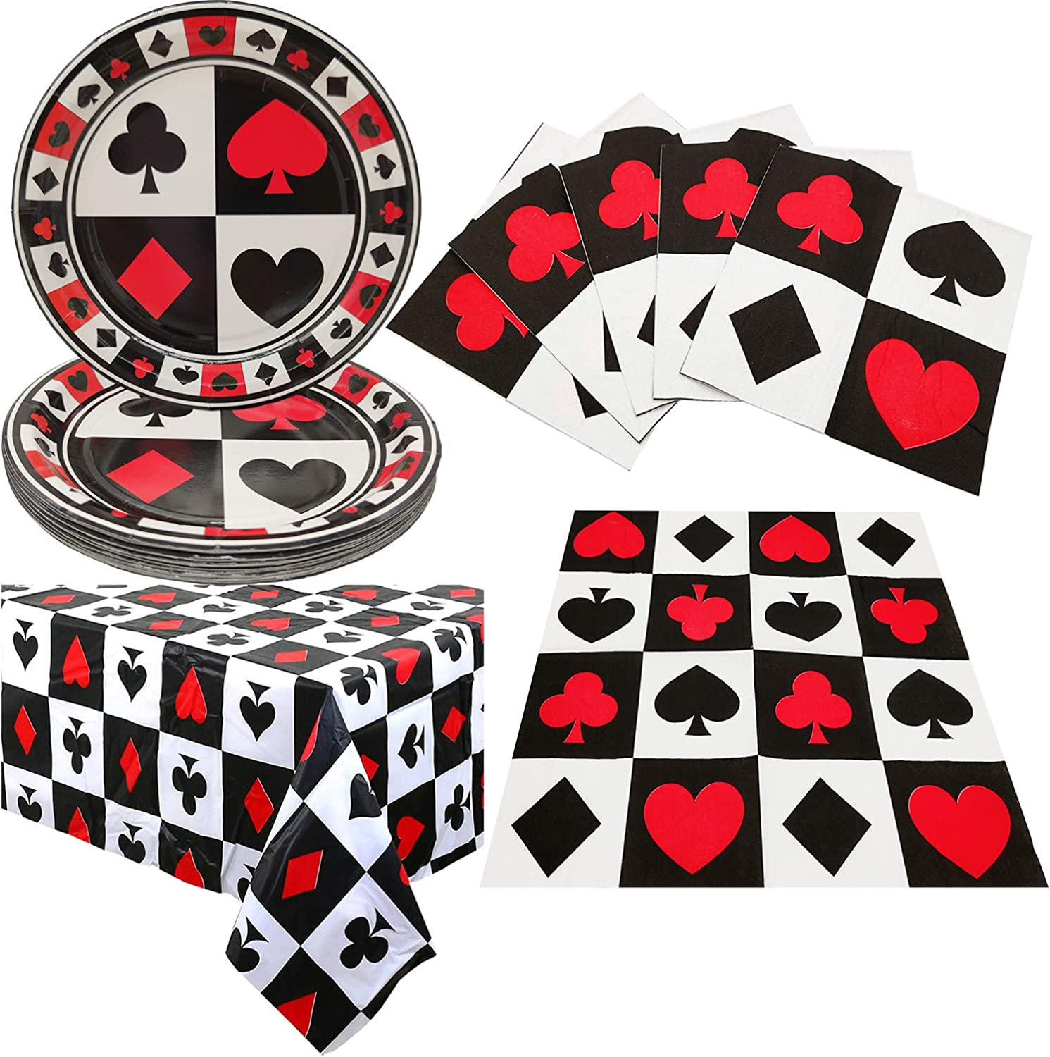 Casino Poker Game Themed Birthday Party Supplies and Decorations -Plastic Table Cover,Plates,Napkins for Arts & Crafts, Poker Patrol Party Supplies for Las Vegas Theme Casino Party 16 Guest