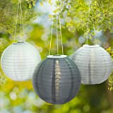 """3 Gray Solar Hanging Nylon Lanterns, 12"""", Warm White LEDs, Tricolor Set, Auto Timer, Waterproof, Rechargeable Batteries Included"""