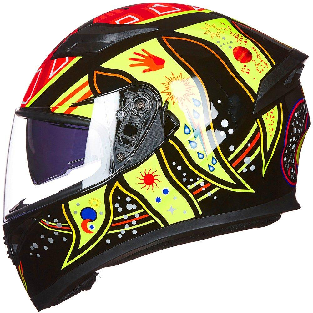 ILM 6 Colors Full Face Dual Visor Motorcycle Helmet DOT L, COLORFULL