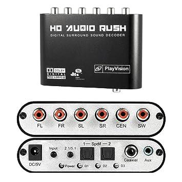 5.1 Audio Fiebre Digital Sound Decoder convertidor óptico SPDIF / Coaxial Dolby AC3 DTS HD Stereo