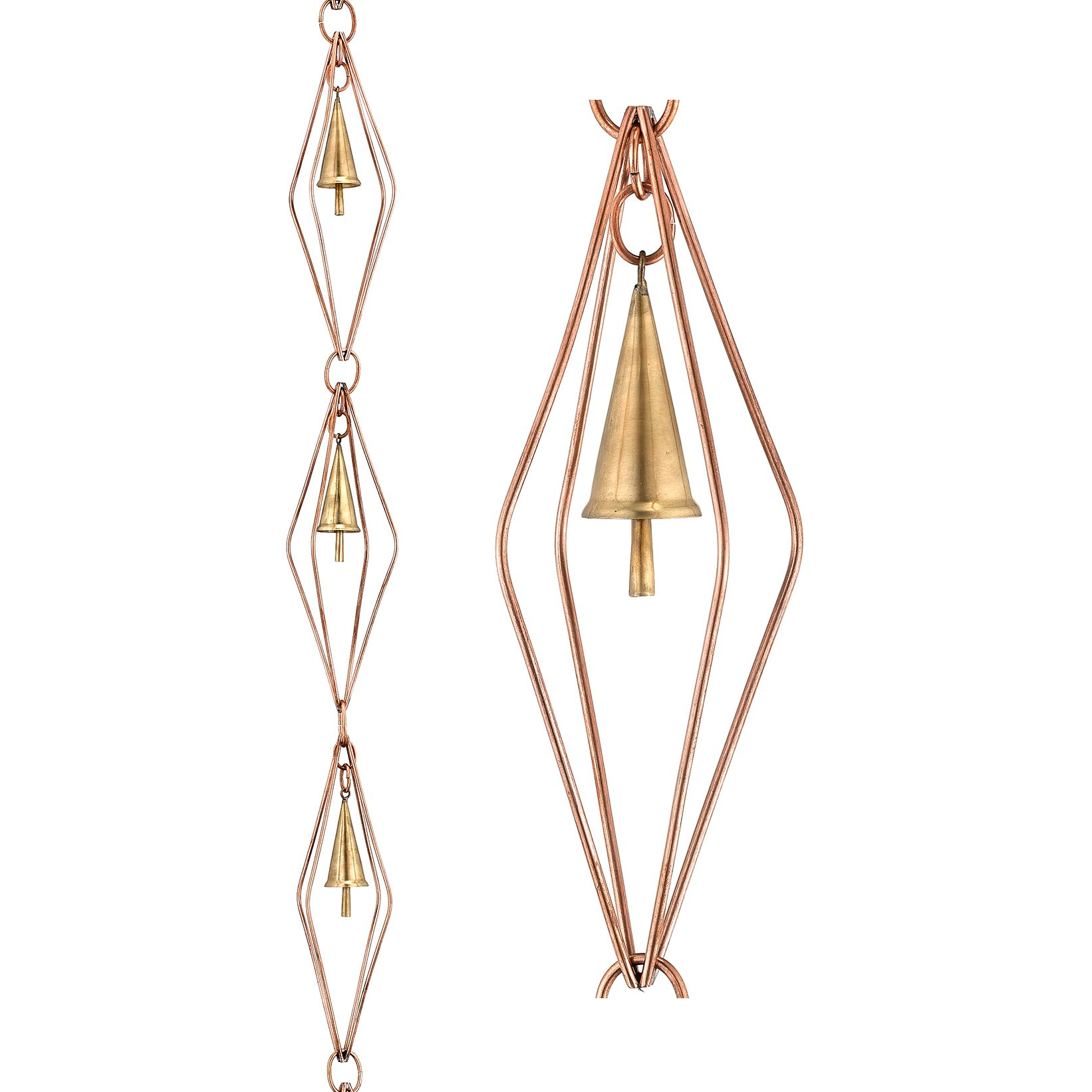 Good Directions 469P-8 Diamond Pure Copper 8.5' Rain Chain with Bells by Good Directions