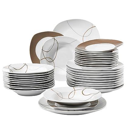 Amazon VEWEET 40Piece Ceramic White Dinnerware Set Brown Impressive Patterned Dinnerware Sets