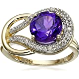 10k Yellow Gold, Gemstone, and Diamond Love Knot Ring