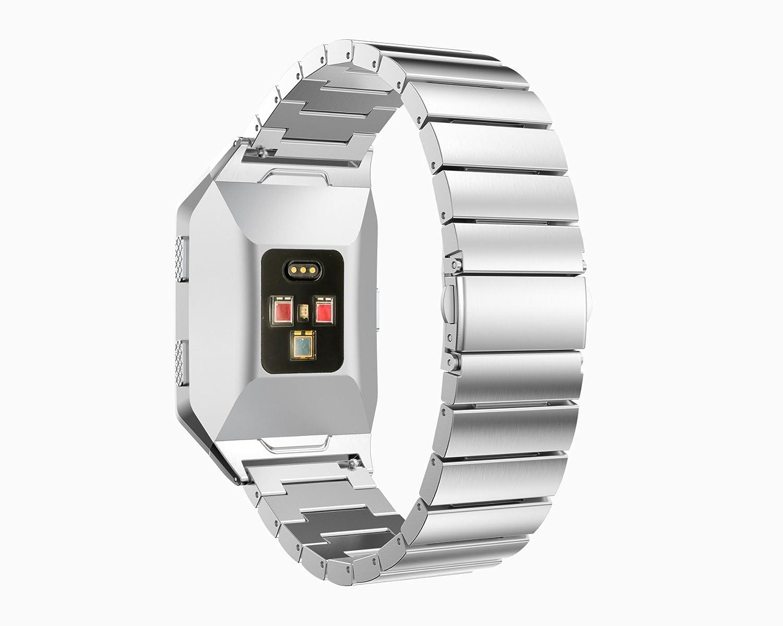 時計ストラップ、btchoice Fitness Trackerアクセサリー新しいReplacmentステンレススチールバンド手首ストラップバンドブレスレットwith修復ツールfor Fitbit Ionicハートレートブレスレット B075WWW2ZF シルバー