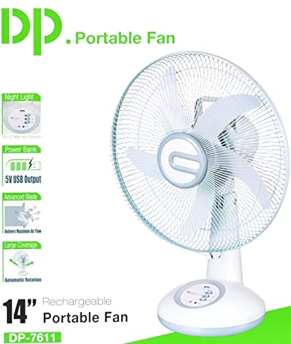 4. DazzelOn 14-inch Rechargeable Table Fan with LED Light (White)