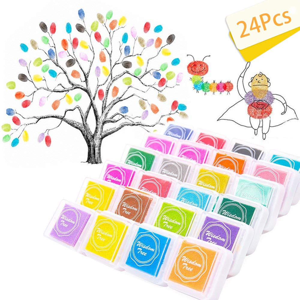 SPECOOL 24 Colors Craft Finger Ink Pad, Fingerprint Inkpad Non-Toxic for Rubber Art Craft Stamp CardRainbow Finger Ink pad Making Wedding Decoration(Washable)