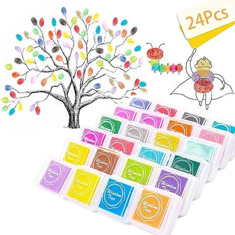 manualidades para goma Almohadilla de tinta de dedo para manualidades de 24 colores lavable no t/óxica sellos tarjetas arco/íris y decoraci/ón de bodas