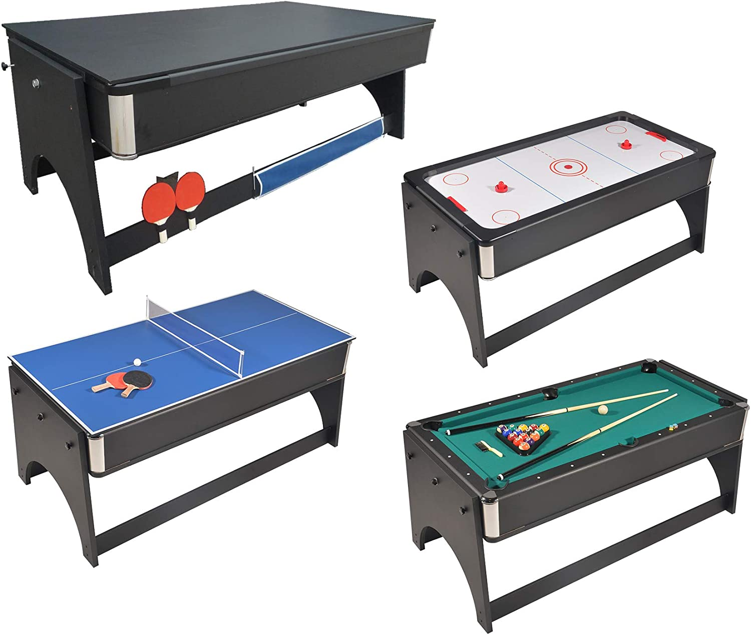Mesa de juegos 4 en 1 plegable Air Hockey – Ping Pong – Billar con ...