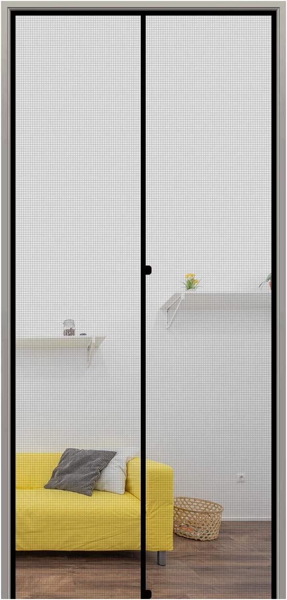 "MAGZO Magnetic Screen Door 36'' x 82'' Grey, Reinforced Fiberglass Screen Doors with Magnets Fit Door Size 36"" x 82"" Sliding Patio Front Back Magnets Screen Door Screen Mesh Curtain with Full Frame"