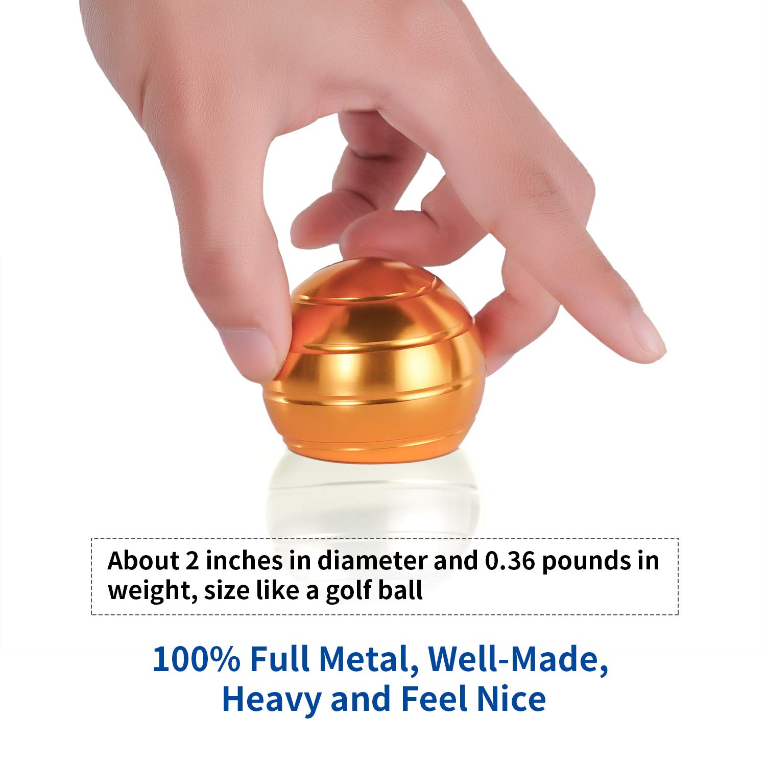 Desk Fidget Toys Safe for Adults & Kids New Version Metal Stress Reliever Kinetic Spinning Ball Unique Physics Art Gadget for Office & Home Anti Anxiety ADHD Relief Autism Relief Relaxation  (Gold) by SIWAN-TOY (Image #5)