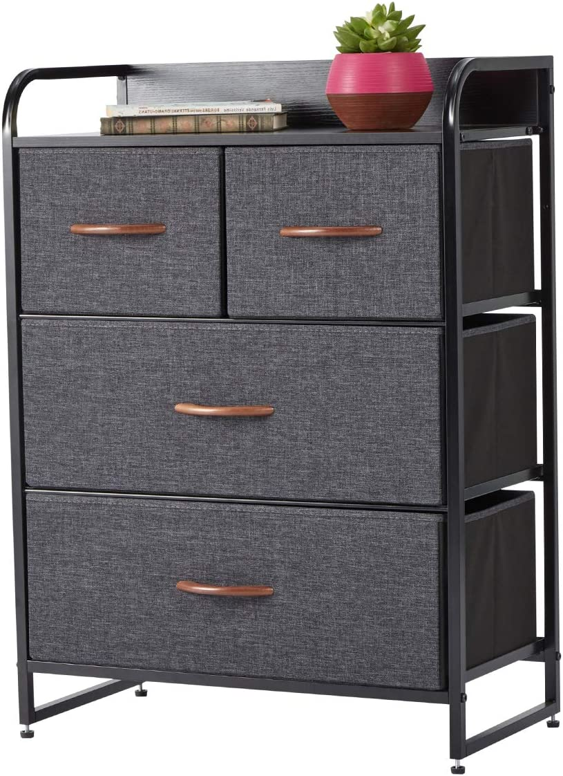 Dresser for Bedroom with 4 Drawers,Fabric Dresser Tower for Closets,Bedroom, Hallway- Sturdy Steel Frame, Wooden Top Grey