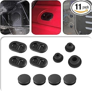 Black MEEFAR Rubber Tailgate Plugs Sets Anti-dust Waterproof Removed Tire Carrier Bumper Plugs for 2018-2020 Jeep Wrangler JL JLU
