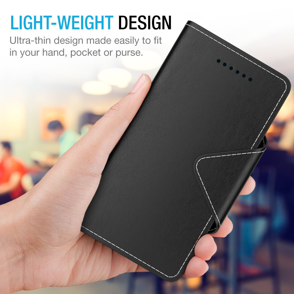 Maxboost Google Pixel 2 XL Wallet Case, [Folio Style] Premium Google Pixel 2 XL Card Cases Stand Feature [Black] Protective PU Leather Flip Cover with Card Slot + Side Pocket Magnetic for Pixel 2 XL by Maxboost (Image #5)