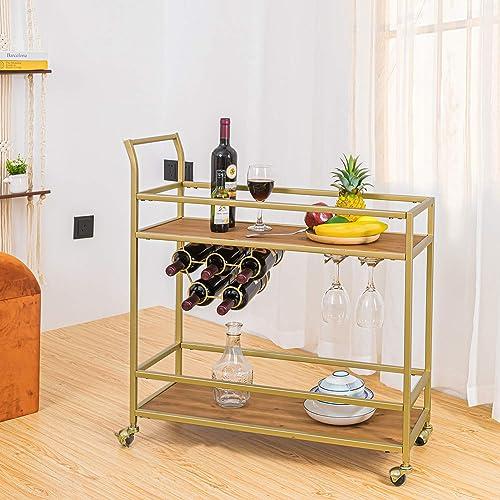HAWOO Gold Bar Cart,Liquor Cart