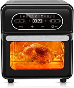 Air Fryer Oven Toaster, LaraLov 16 Quarts & 1700W Countertop Toaster with LED Touch Screen Controls and 12 Presets for Heating, Baking, Roasting & Dehydrating, Accessories & Recipe Included, Black