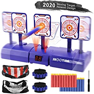 Electronic Running Shooting Target, Digital Scoring Auto Reset Target with Refill Darts, Tactical Masks and Wrist Bands for Nerf Guns Target Practice, Gift for Boys and Girls