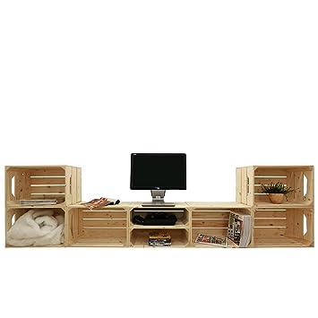 Mueble de televisión 6S2H listo para montaje - 8 cajas de madera - Fabricado a mano en Francia: Amazon.es: Hogar
