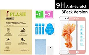 """[3 Pack] iFlash Full Coverage Tempered Glass Screen Protector For Apple iPhone 6S Plus / 6 Plus 5.5"""" - 3D Touch Compatible/Edge to Edge/Crystal Clear/Scratch Proof/Bubble Free (Rose Gold)"""