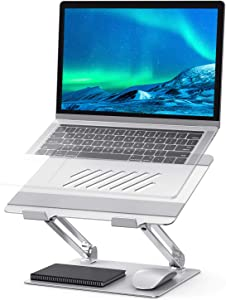 """Adjustable Laptop Stand, POVO Ergonomic Portable Notebook Stand with Heat-Vent, Heavy Duty Laptop Holder Compatible with MacBook Air/Pro, Dell, HP, Samsung, Lenovo More 10-17"""" Laptops (Silver)"""