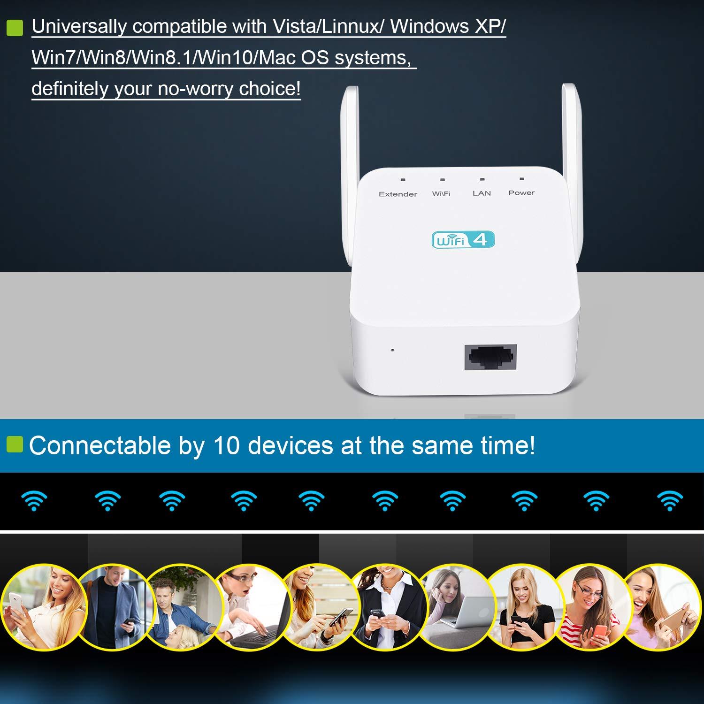 ,WiFi Repetidor Amplificador Extensor Red WiFi con 2 Antenas Externo EU Enchufe Temfly Amplificador de WiFi,Repetidor WiFi 300Mbps//2.4GHz Repetidor Se/ñal WiFi Universal