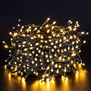 Quntis Christmas String Lights - Outdoor Indoor 132FT 300 LEDs Fairy String Lights Battery Operated Decoration Twinkle Lights with Timer for Home Garden Tree Wedding Party Valentines Day, Warm White